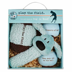 Dog is Good Play the Field Dog Toy Gift Pack - Blue