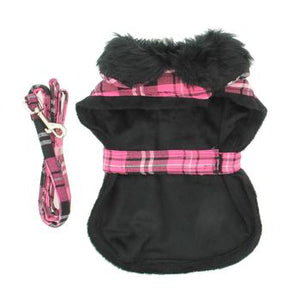Plaid Fur-Trimmed Dog Harness Coat - Hot Pink and Black by Doggie Design