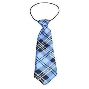 "Plaid Big Dog Neck Tie - Blue (16-26"" Neck)"