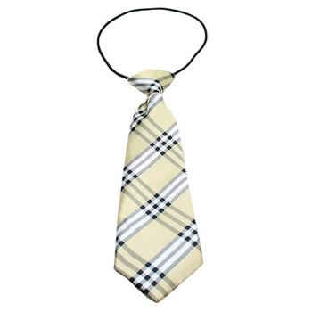 Plaid Big Dog Neck Tie - Cream