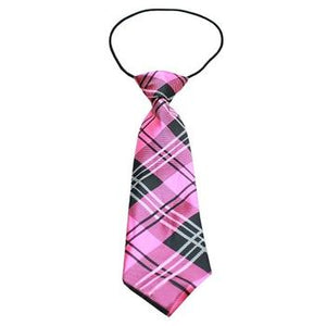 Plaid Big Dog Neck Tie - Pink