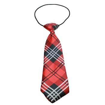 Plaid Big Dog Neck Tie - Red