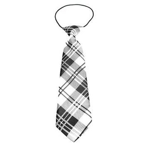 Plaid Big Dog Neck Tie - White