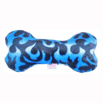 Plush Bone Dog Toy - Blue Flame