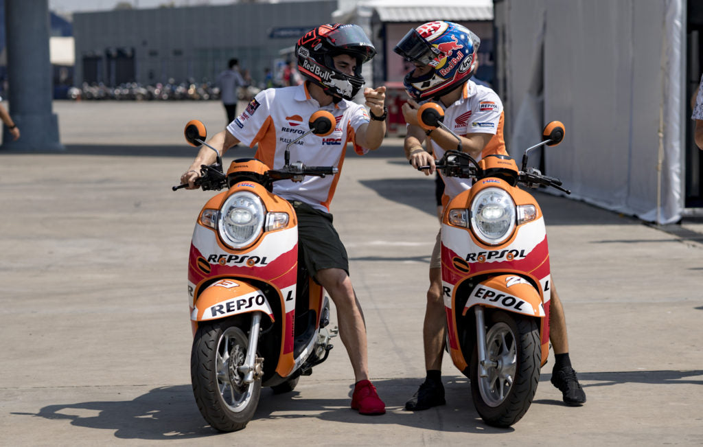 Marc Márquez and Dani Pedrosa arrive at Buriram International Circuit