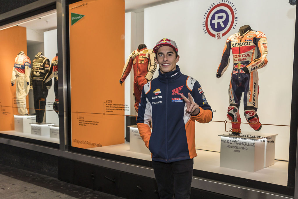Márquez opens racing leathers exhibition in Madrid's El Corte Inglés