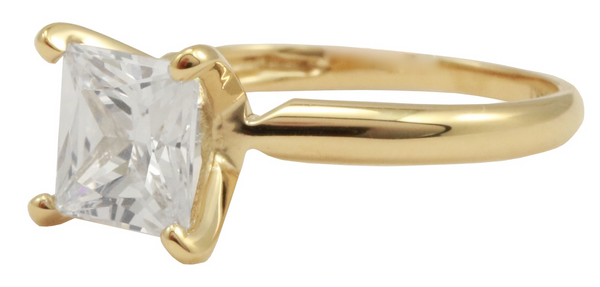 Picture of a side view gold engagement ring