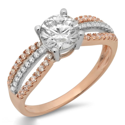 photo designer engagement ring in white and rose gold