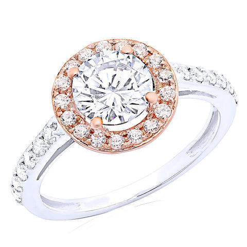 engagement ring in rose gold with halo