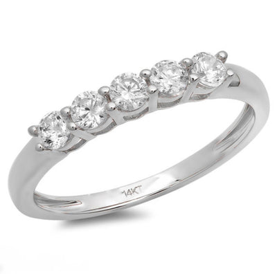 0.5 Ct. Round Cut 5-Stone Ring in Solid 14k White Gold - Glamour Life Diamonds