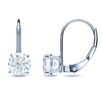 2 Ct. Round Cut Leverback Solid 14k White Gold Earrings - Glamour Life Diamonds