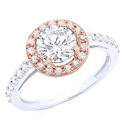2 Ct. Round Cut Solid 14K White Rose Gold Halo Engagement Ring - Glamour Life Diamonds