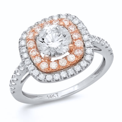 1.8 Ct Round Cut Halo Engagement Wedding Promise Ring Solid 14K White Rose Gold - Glamour Life Diamonds
