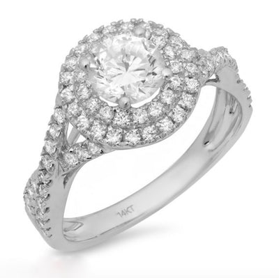 1.5 Ct. Halo Solid 14k White Gold Engagement Wedding Ring - Glamour Life Diamonds