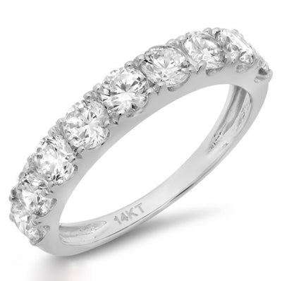 1.5 Ct. Pave Set. Solid 14k White Gold Ring - Glamour Life Diamonds