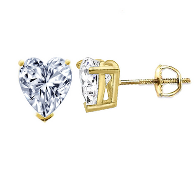 9b0e90f19 1.5 Ct. Heart Cut Brilliant Solid 14K Yellow Gold Earrings Screw Back - Glamour  Life Diamonds