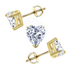1.5 Ct. Heart Cut Brilliant Solid 14K Yellow Gold Earrings Screw Back - Glamour Life Diamonds