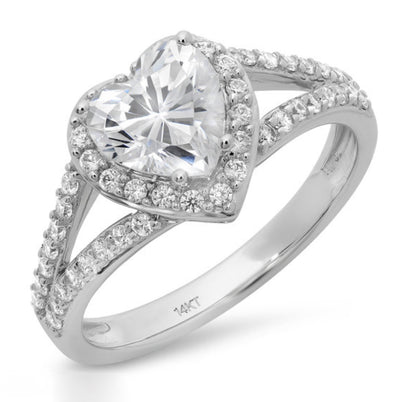 1.7 Ct. Heart Halo Ring in Solid 14k White Gold - Glamour Life Diamonds