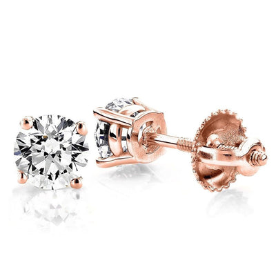 2 Ct. Round Solid 14K Rose Gold Earrings Basket Screw Back - Glamour Life Diamonds