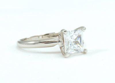 1 Ct. Princess Cut Solitaire Solid 14K White Gold Engagement Ring - Glamour Life Diamonds