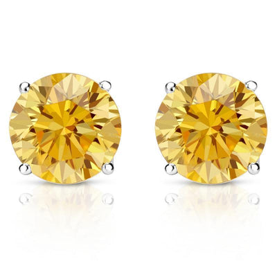 Canary YELLOW Round Cut Earrings Solid 14K White Gold Screwback - Glamour Life Diamonds