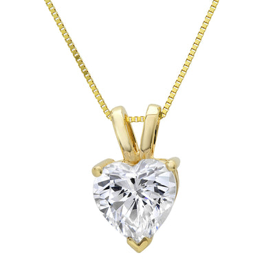 1.5 Ct. Heart Cut Solid 14K Yellow Gold Solitaire Pendant Necklace - Glamour Life Diamonds