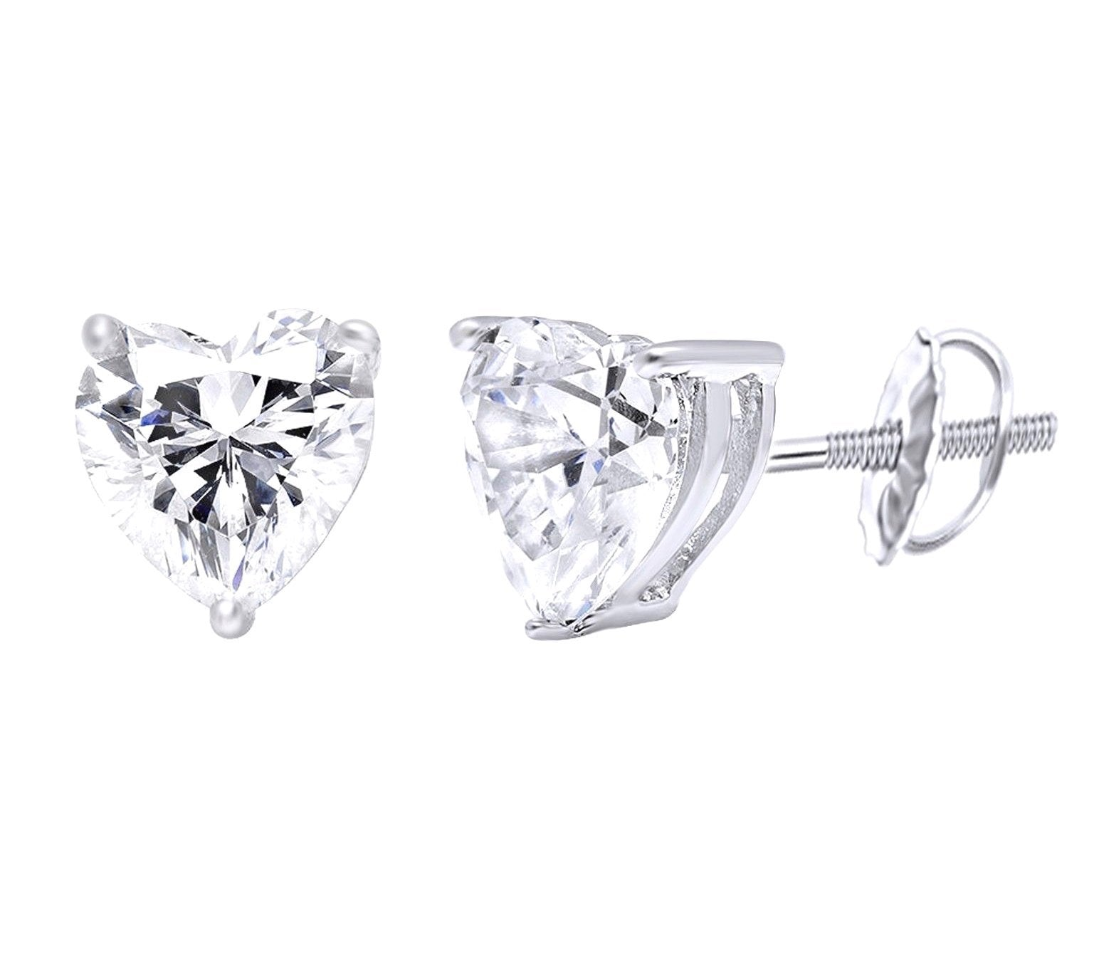 f7db92995 1.5 Ct. Heart Cut Brilliant Solid 14K White Gold Stud Earrings - Glamour  Life Diamonds