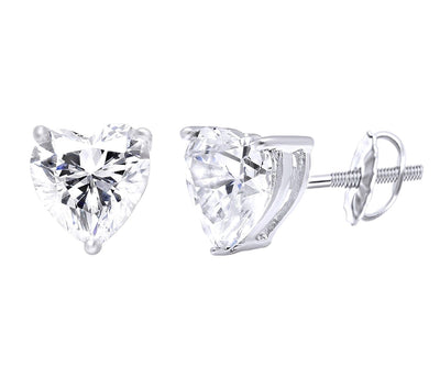 1.5 Ct. Heart Cut Brilliant Solid 14K White Gold Stud Earrings - Glamour Life Diamonds