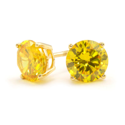 2 Ct. Canary Yellow Round Cut Earrings Solid 14K Yellow Gold Screwback - Glamour Life Diamonds