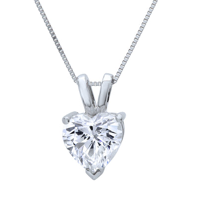1.5 Ct. Heart Cut Solid 14K White Gold Solitaire Pendant Necklace - Glamour Life Diamonds
