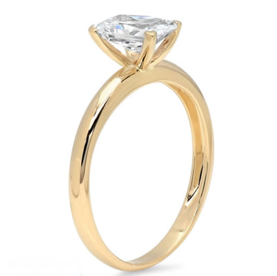1 Ct. Emerald Cut Ring in Solid 14k Yellow Gold - Glamour Life Diamonds
