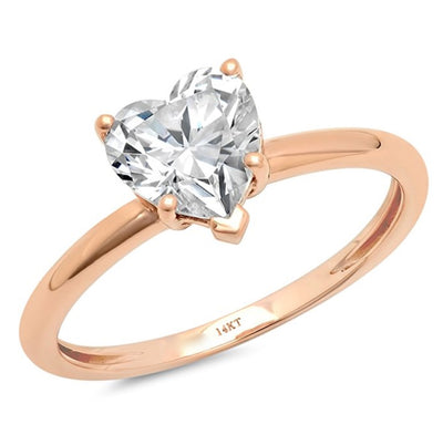 1 Ct. Heart Cut Ring in Solid 14K Rose Gold - Glamour Life Diamonds