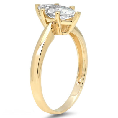 1 Ct. Marquise Solid 14K Yellow Gold Solitaire Engagement Ring - Glamour Life Diamonds