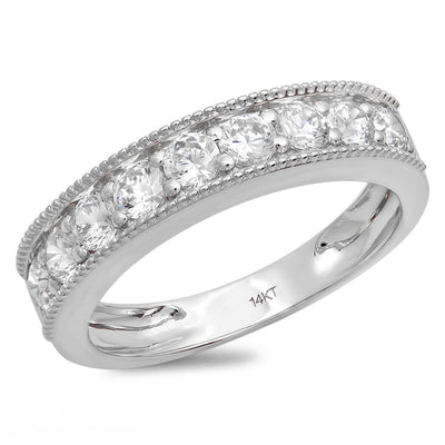 1 Ct. Round 9-Stone Solid 14k White Gold Anniversary Band Ring - Glamour Life Diamonds