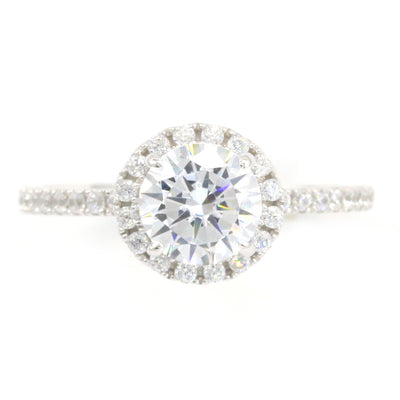 1.5 Ct Round Cut Halo Engagement Ring Solid 14K White Gold - Glamour Life Diamonds