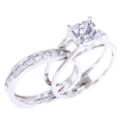 2 Ct. Princess Cut 2 Piece Engagement Ring Set, Solid 14k Gold Ring, Wedding Ring Set - Glamour Life Diamonds