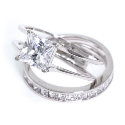 2 Ct. Princess Cut 2 Piece Engagement Wedding Ring Set - Glamour Life Diamonds