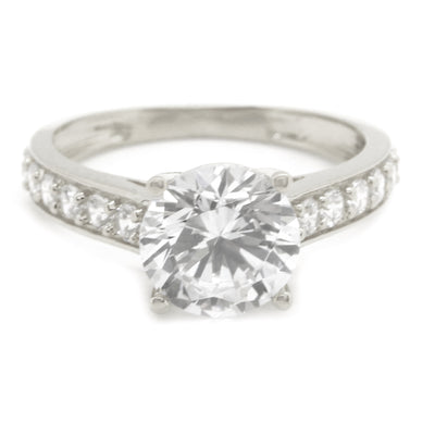 2 Ct. Round w/ Accents Solitaire Solid 14K White Gold Engagement Ring - Glamour Life Diamonds