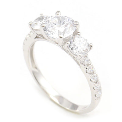 2.25 Ct. Round Cut 3-Stone Accent Engagement Ring Solid 14K White Gold - Glamour Life Diamonds