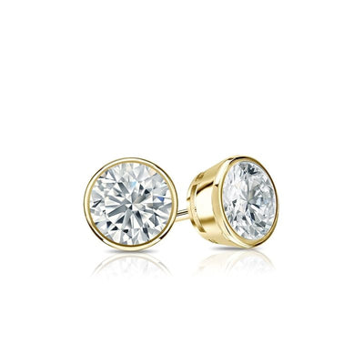 1.5 Ct. Round Cut Bezel Solid 14K Yellow Gold Earrings Screw Back - Glamour Life Diamonds