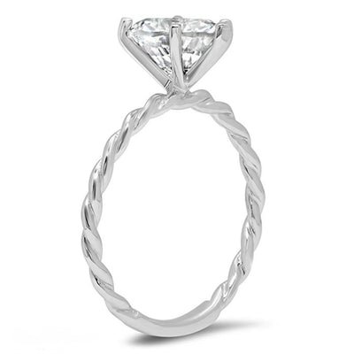 2 Ct. Heart Cut Twisted Ring in Solid 14K White Gold - Glamour Life Diamonds
