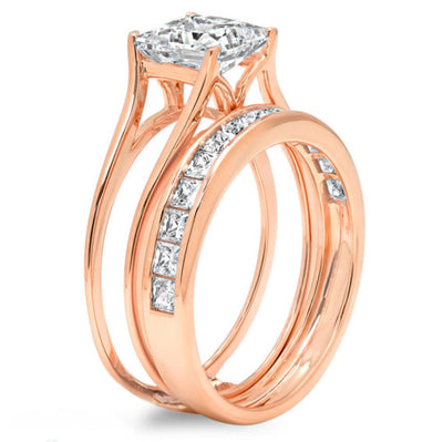 2 Ct. Princess Cut 2-Piece Solid 14K Rose Gold Ring Set - Glamour Life Diamonds