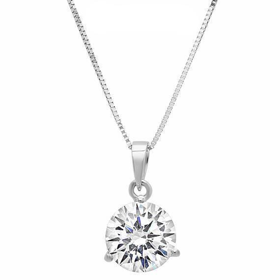 2 ct diamond pendant necklaces in white and yellow 14k gold 16 2 ct round cut pendant solid 14k white gold solitaire 18 necklace aloadofball Gallery