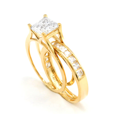2 Ct. Princess Cut 2-Piece Solid 14K Yellow Gold Engagement Wedding Ring Set - Glamour Life Diamonds