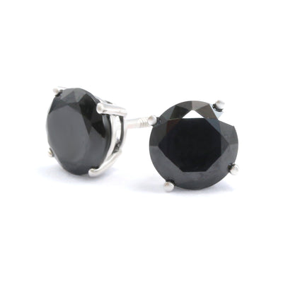 2 Ct. Round Cut Black Earrings Solid 14K 18k White Gold Screw back studs - Glamour Life Diamonds
