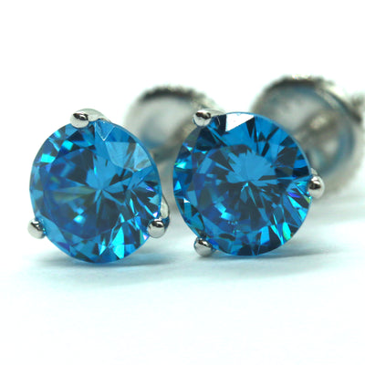 2 Ct Aqua Blue Round Martini Earrings in Solid 14K White Gold Screw Back Studs - Glamour Life Diamonds