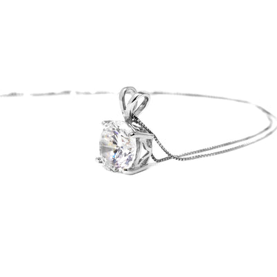 1 Ct Round Cut Brilliant Diamond Pendant in Solid 14k White Gold Necklace - Glamour Life Diamonds