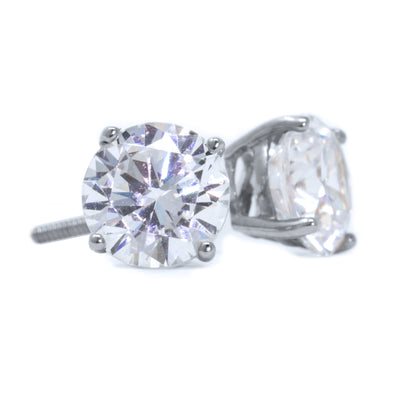 1 Ct Round Cut Stud Diamond Earrings in Solid 14k White Gold Screw Backs - Glamour Life Diamonds