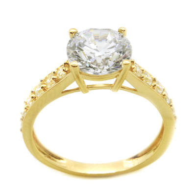 2.25 Ct. Round Cut Solitaire w Accents Solid 14K Yellow Gold Engagement Ring - Glamour Life Diamonds