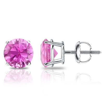 PINK Round Cut Earrings Solid 14K White Gold Screwback - Glamour Life Diamonds